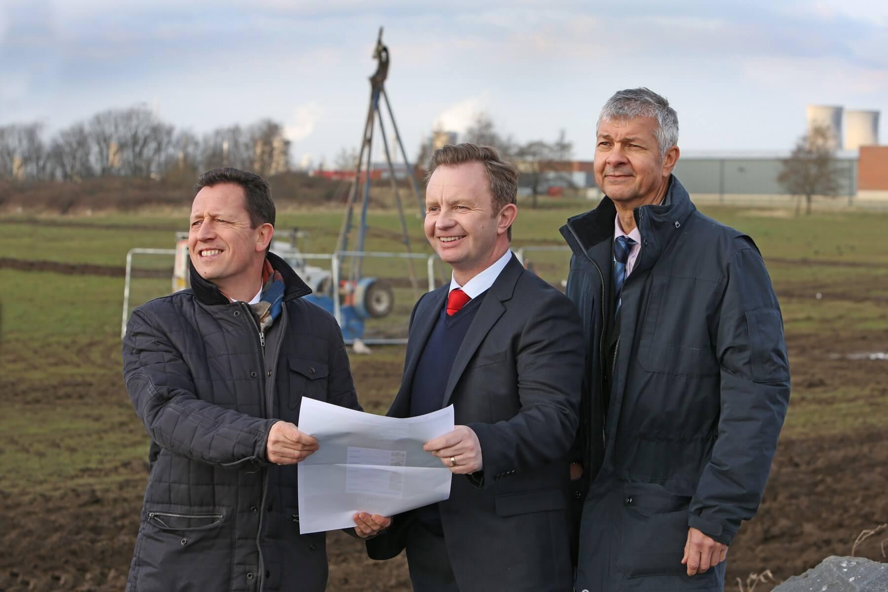 From left, Richard Wilson of Dodds Brown, Geoff Hogg and Richard Brown of Dodds Brown